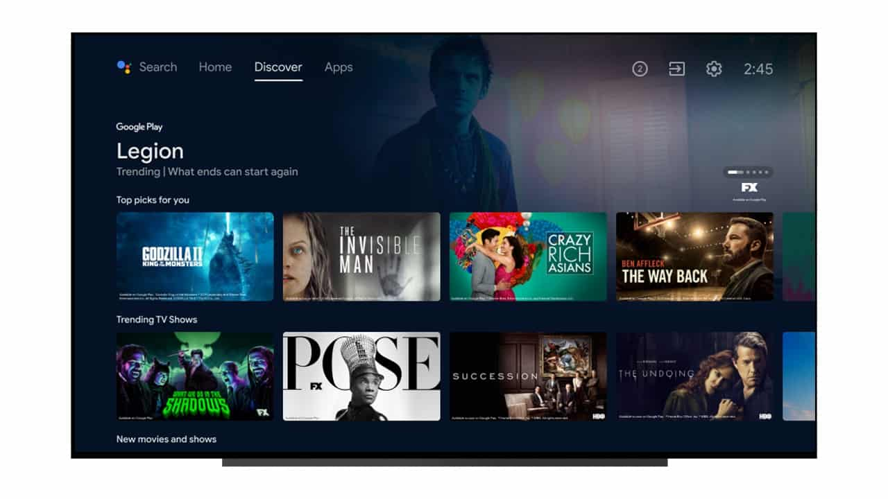 Android TV new interface discover tab