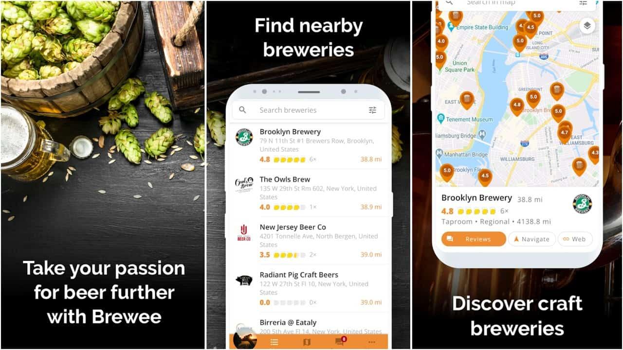 Brewee app grid