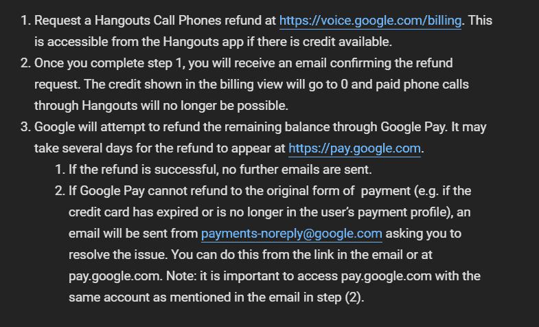 Google Hangouts Refund Process