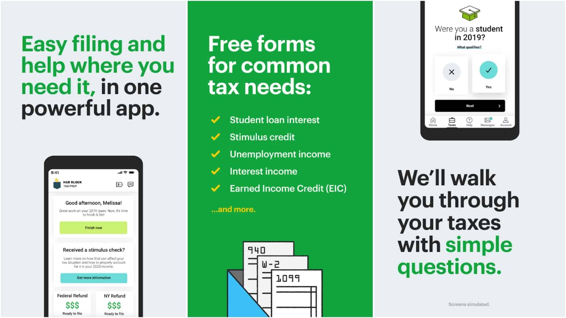 HR Block Tax Prep and File app grid