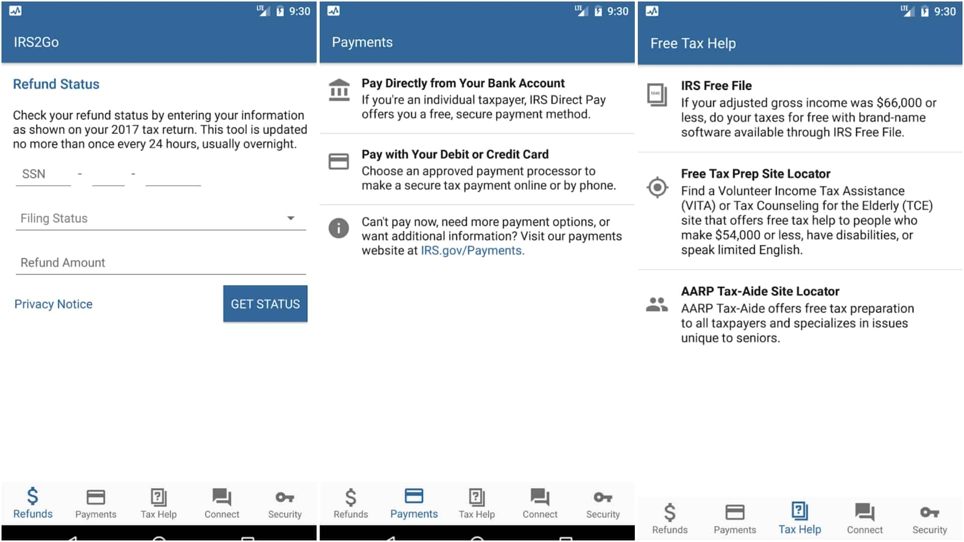 IRS2Go app grid