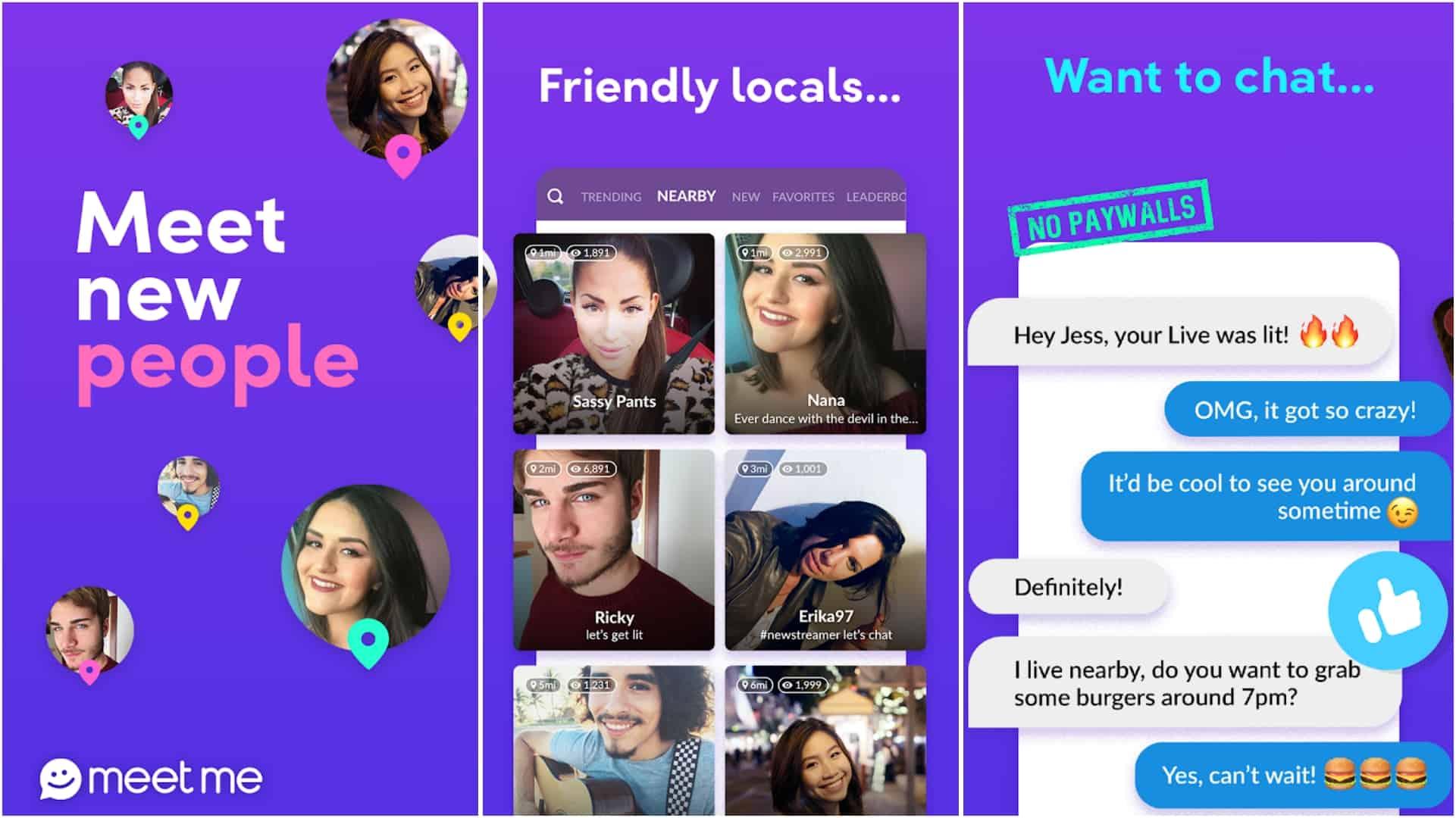 MeetMe app grid