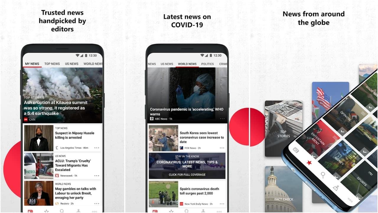 Microsoft News app grid