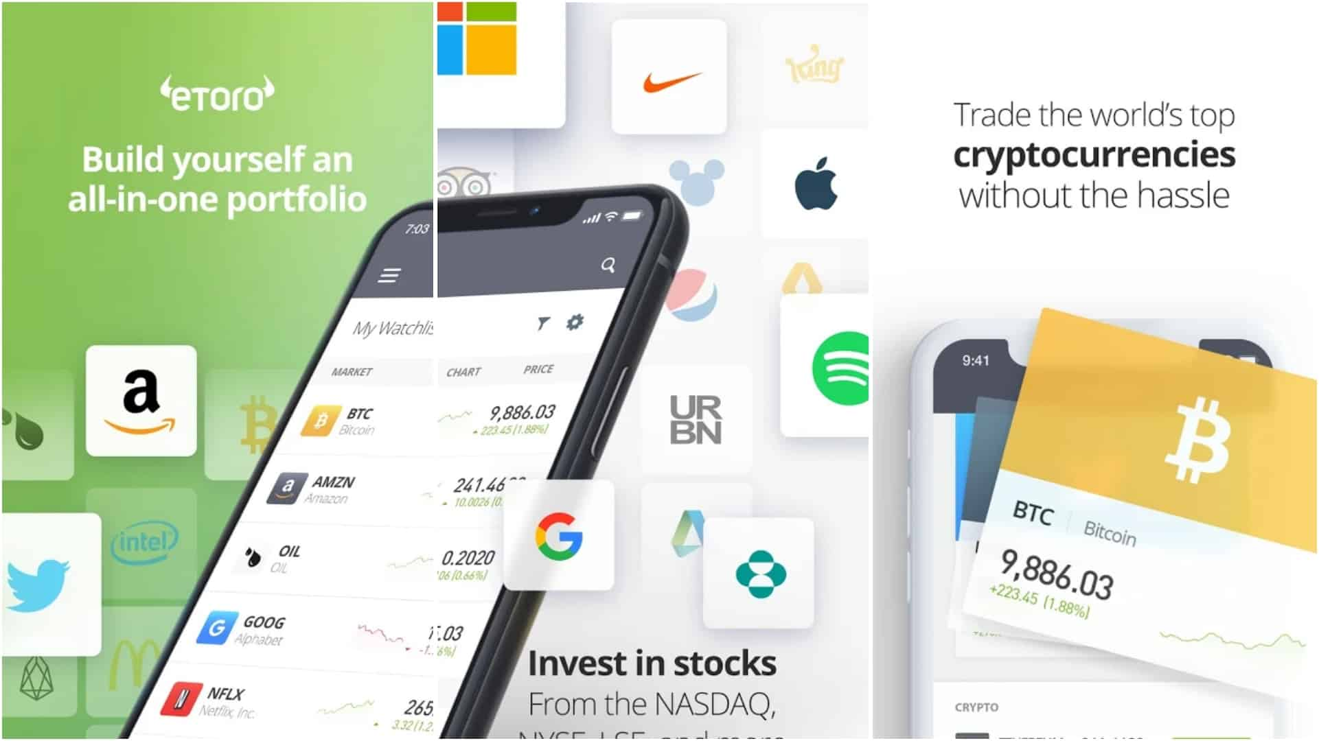 eToro app grid