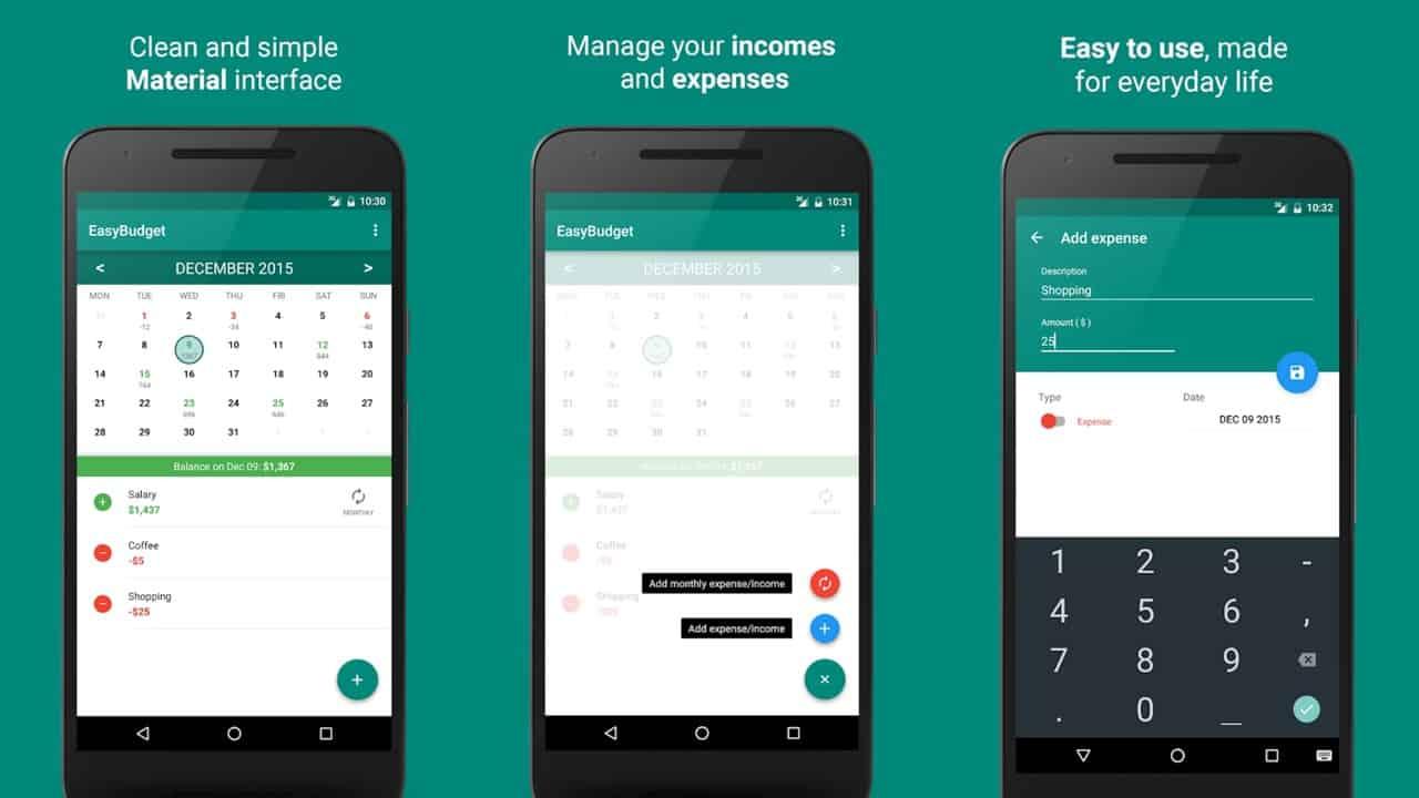 Easy Budget app grid