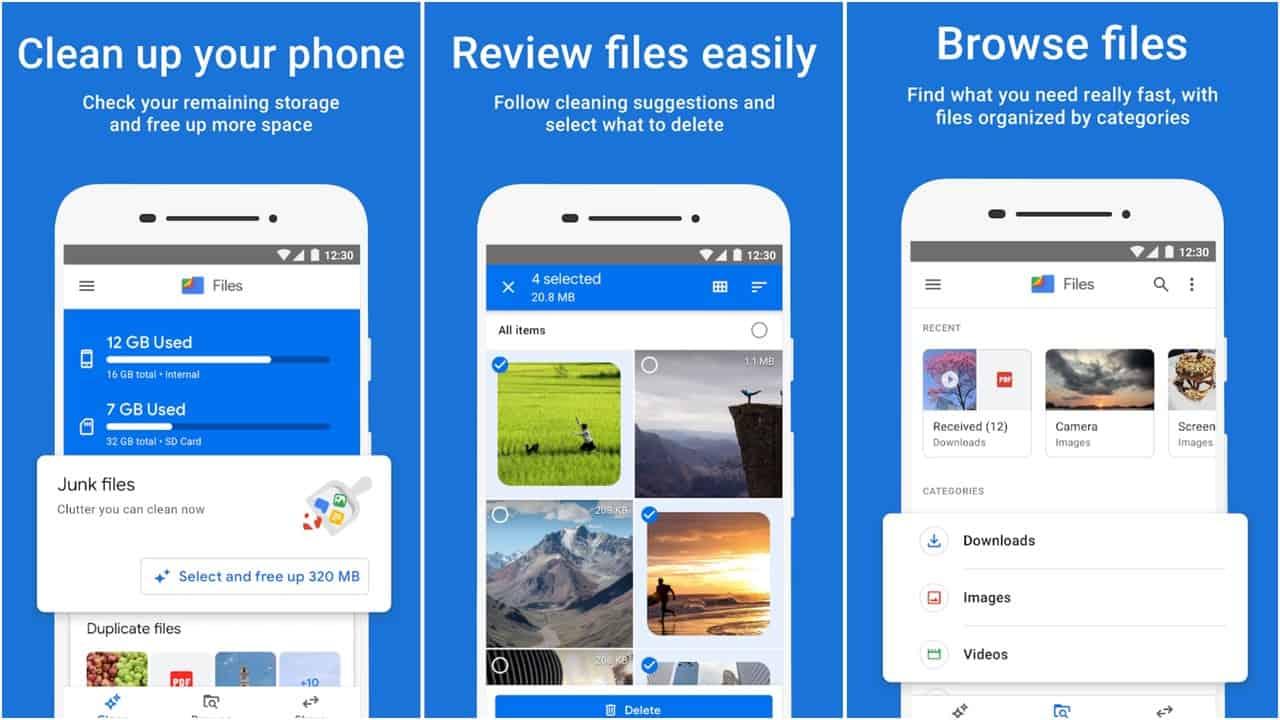 Files by Google app grid
