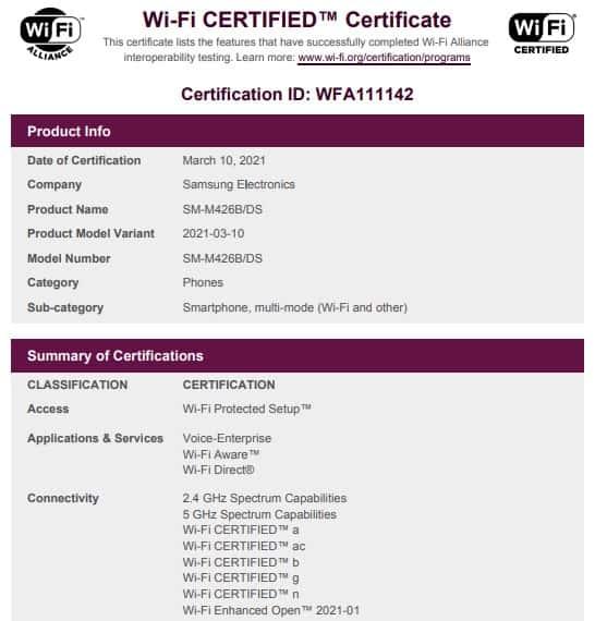 Galaxy M42 5G Wi Fi launch