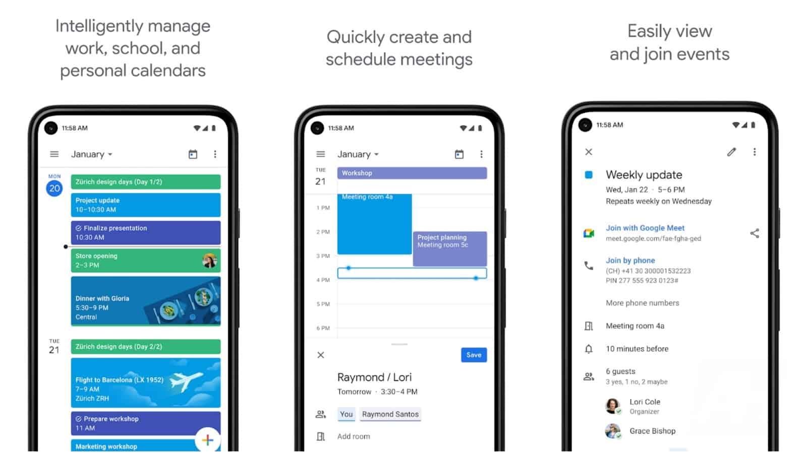 Image de la grille de l'application Google Agenda