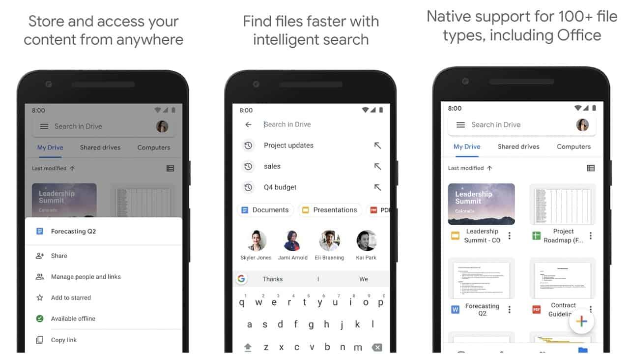 Google Drive app grid