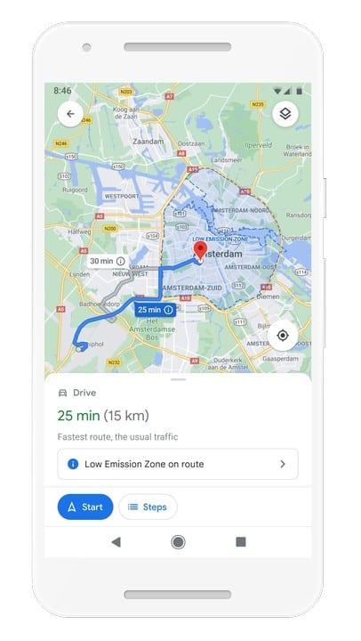 Google Maps Low Emission Zone