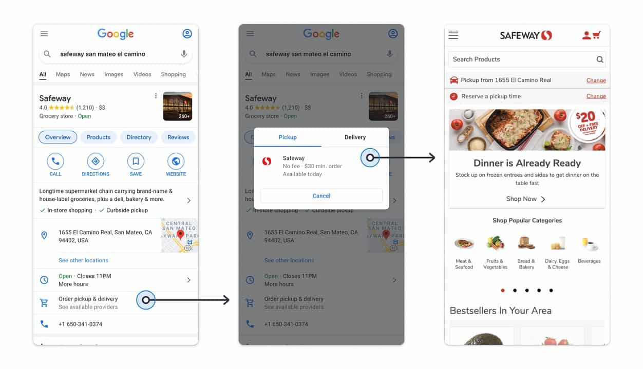 Google Maps Pickup and delivery actions 2