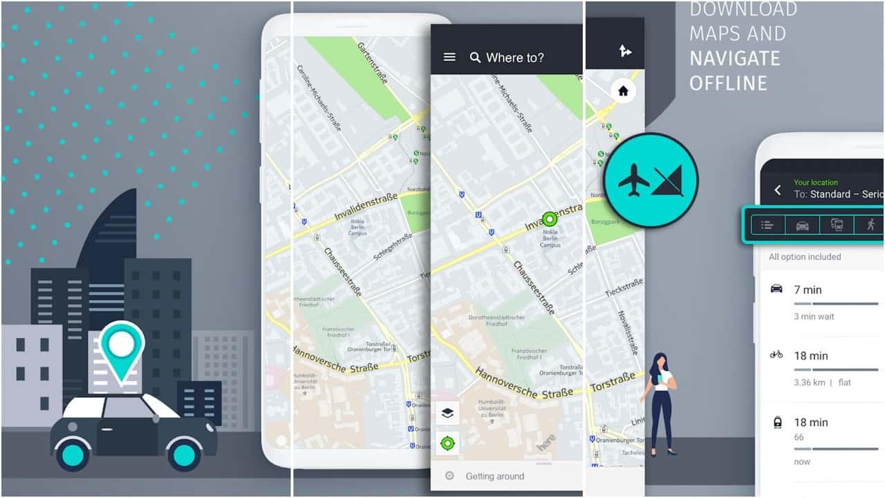 Here WeGo app grid