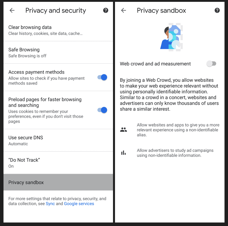 Privacy Sandbox Screenshot