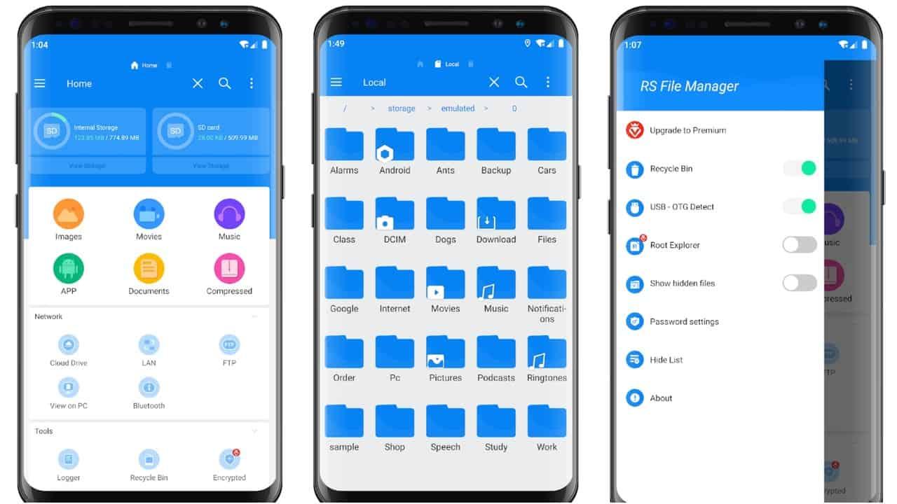 RS File Manager app grid