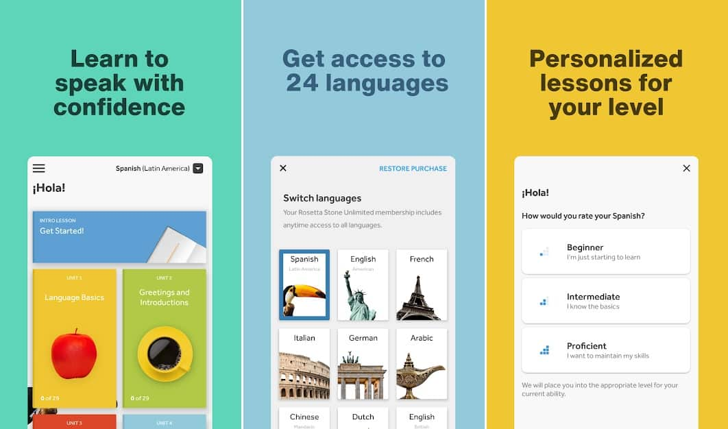 Rosetta Stone best language learning apps