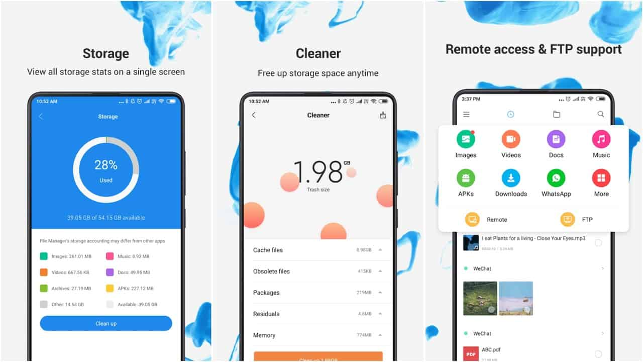Xiaomi File Manager app grid