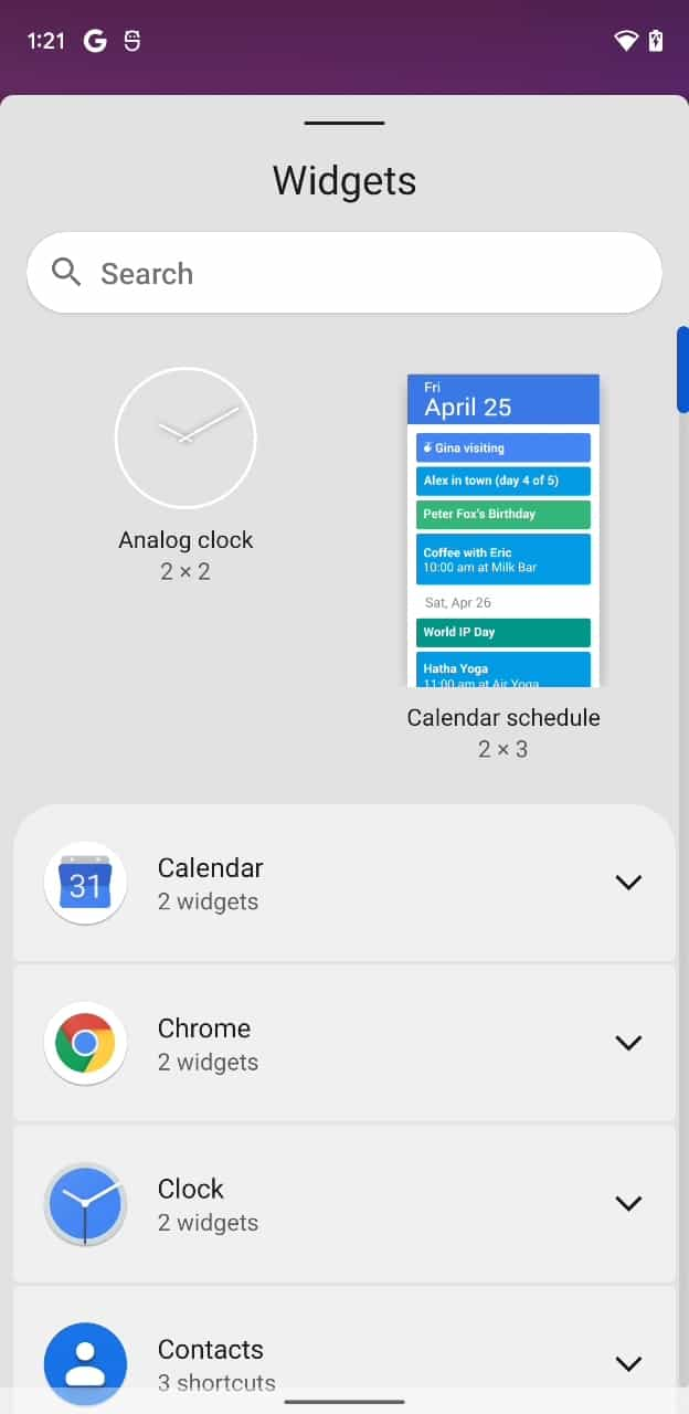 Android 12 DP3 widget search bar