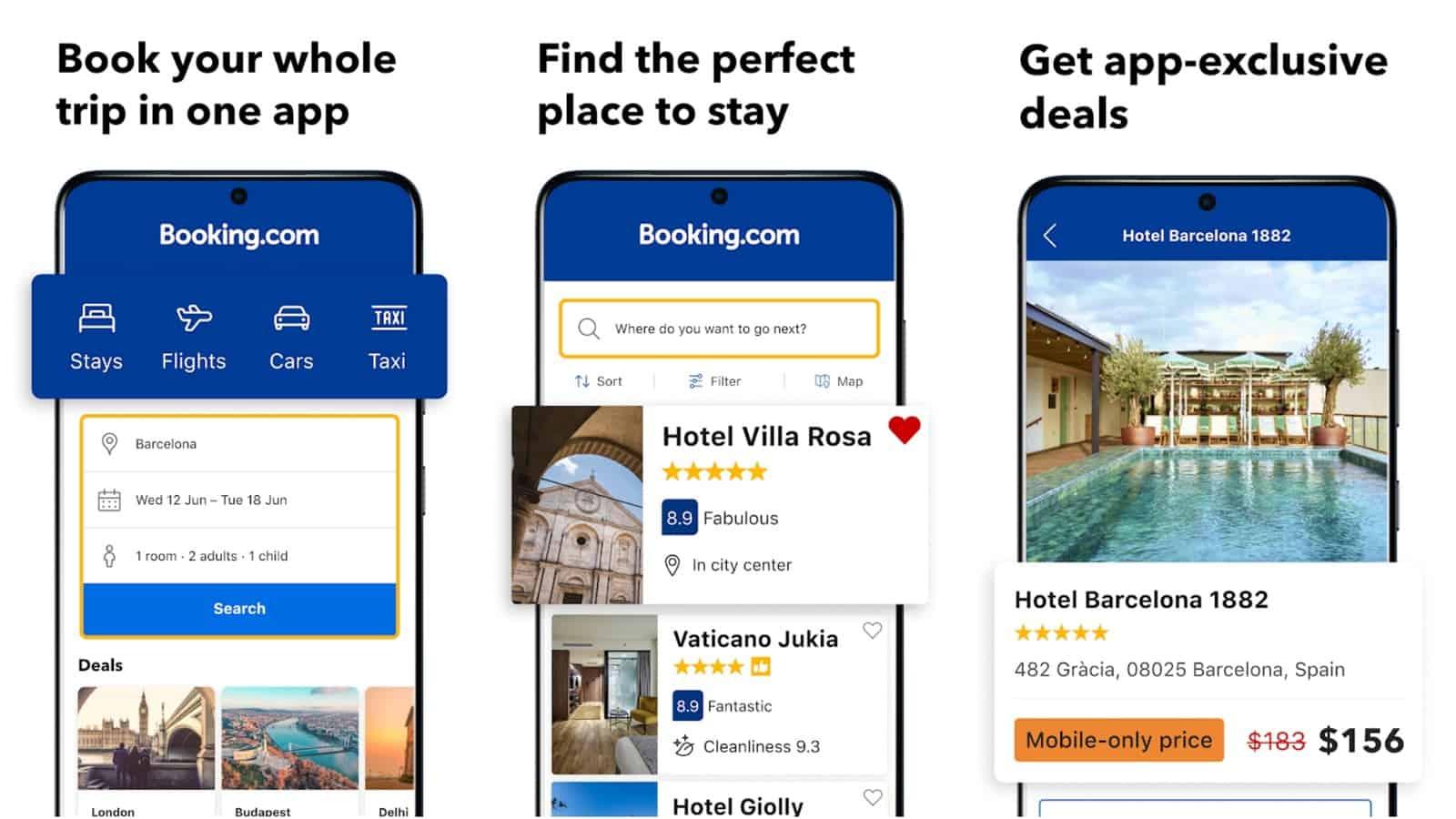 Booking com app grid image