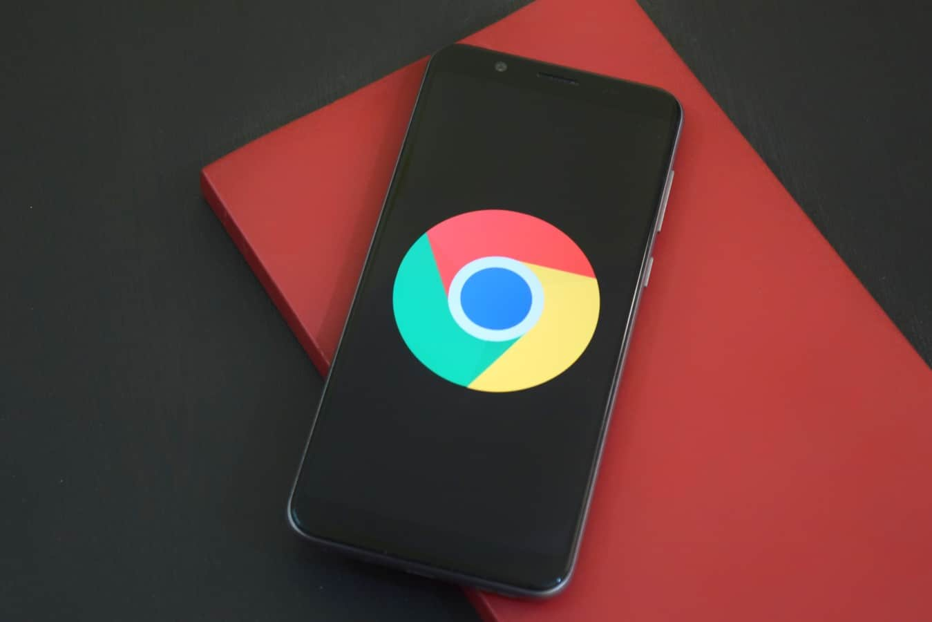 Smartphone with Chrome logo