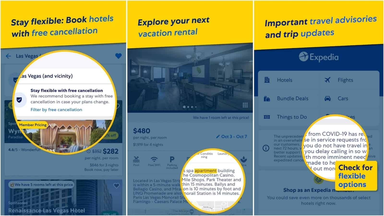 Image de la grille de l'application Expedia Hotels