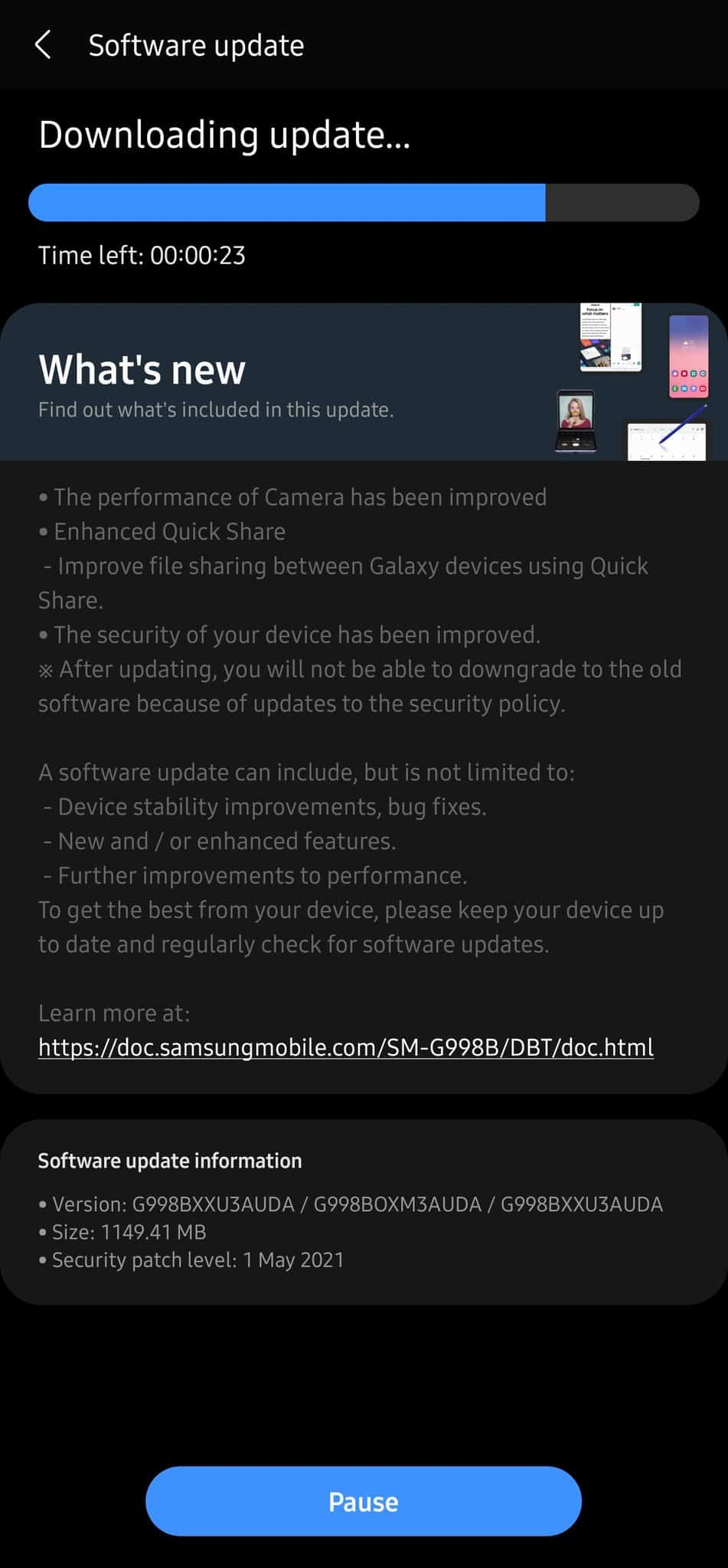 Galaxy S21 Ultra May 2021 security update