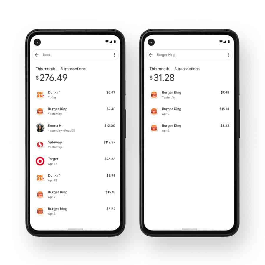 Google Pay monthly spending
