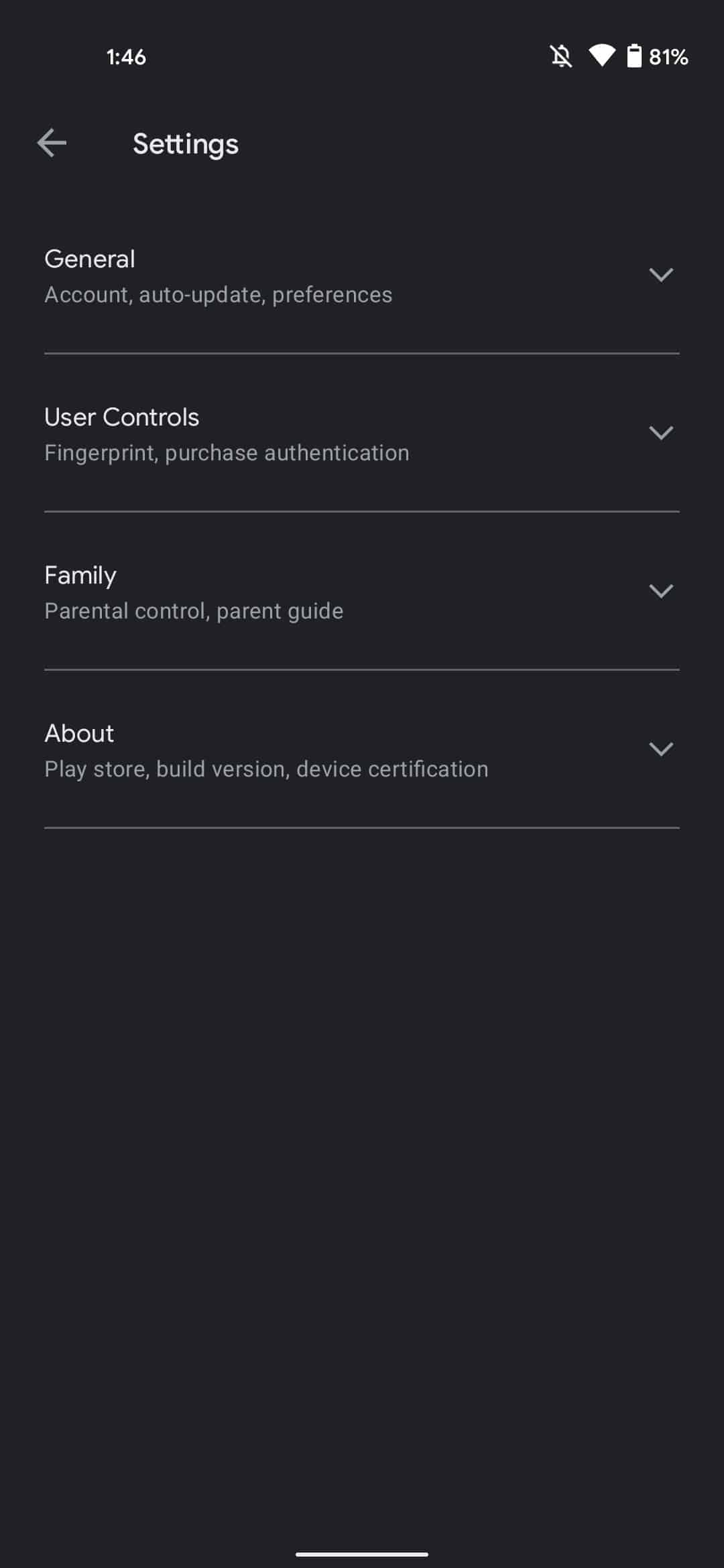 Google Play Store redesign settings 1