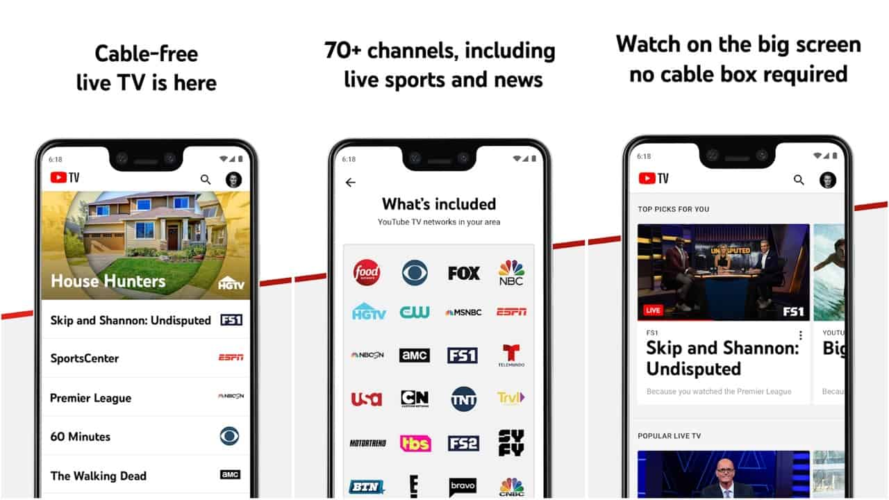 YouTube TV app grid image