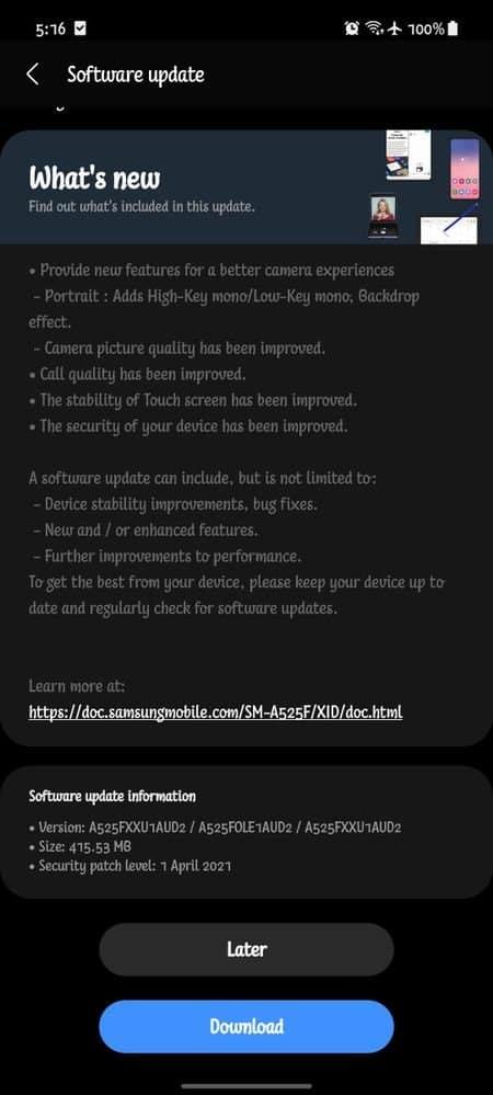 galaxy a52 camera update