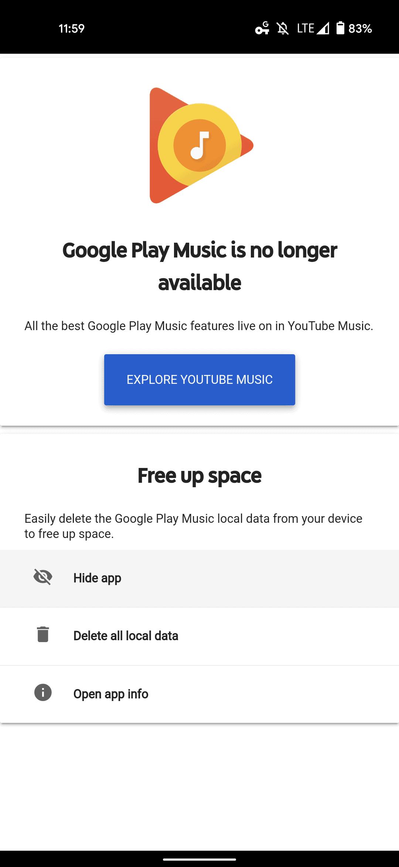 hide Google Play Music 1