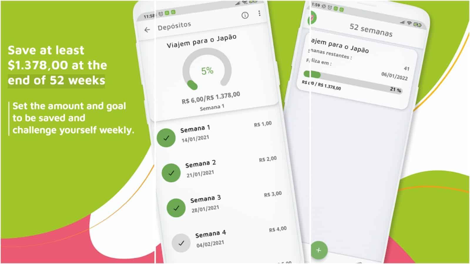52 Weeks Money Challenge app grid image
