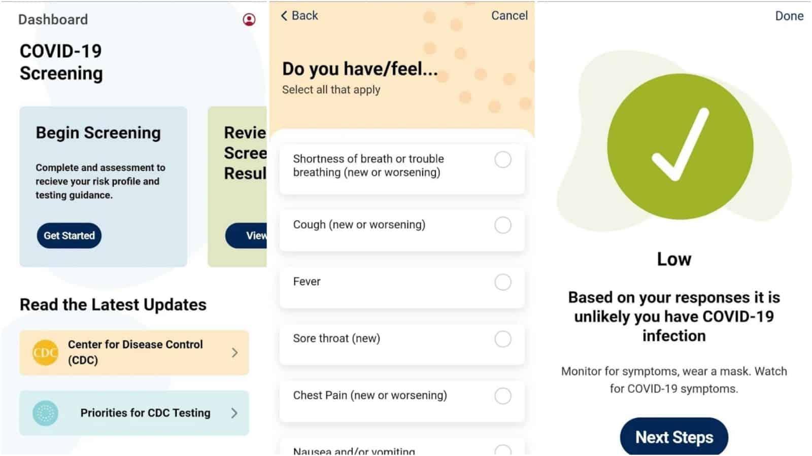 CheckCOVID app grid image