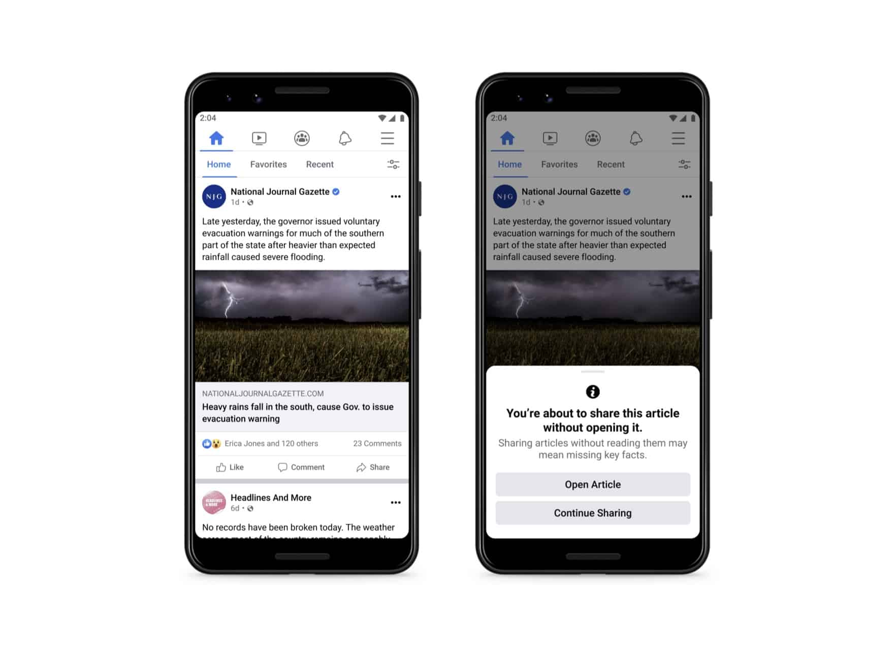 Facebook Now Wants You To Read Articles Before Sharing Them
