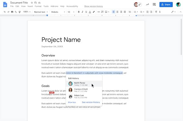 Google Docs show editors edit history