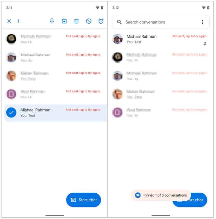 Google Messages pin conversations