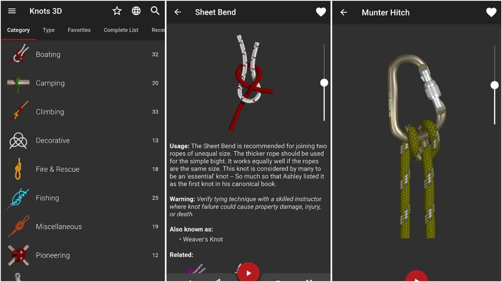 Knots 3D app grid image