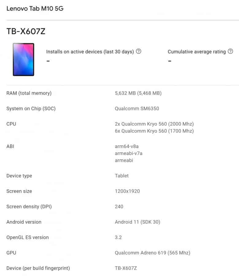 Lenovo Tab M10 5G Play Console