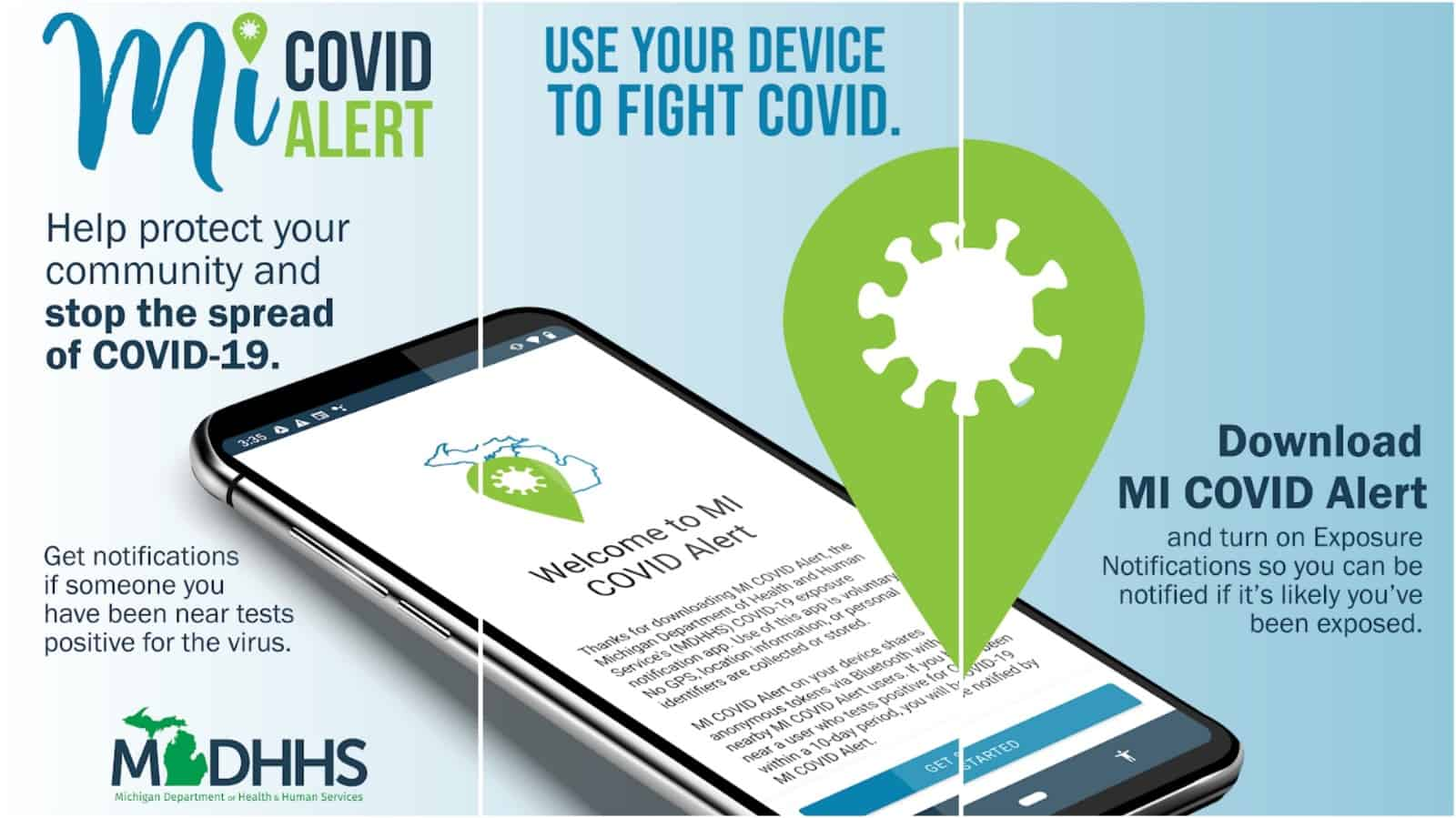 MI COVID Alert app grid image