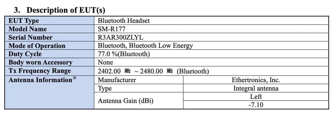 Samsung Galaxy Buds 2 FCC 1