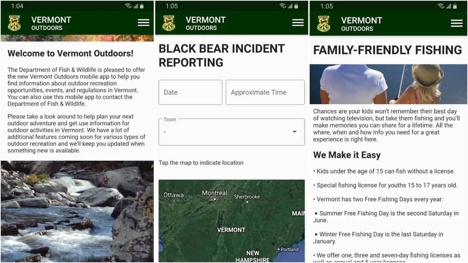 Vermont Outdoors app grid image