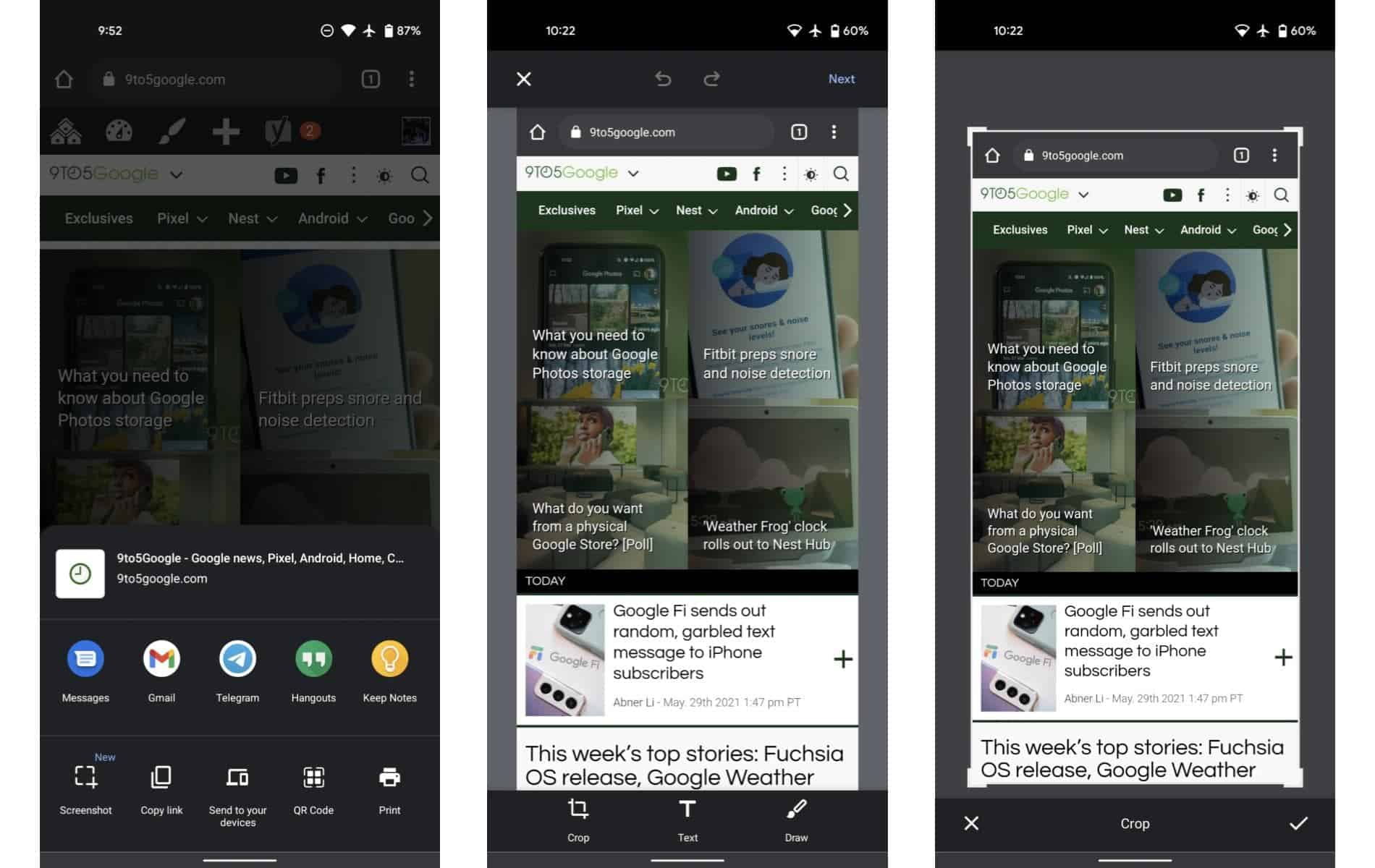 Chrome 91 screenshots on Android from 9to5Google