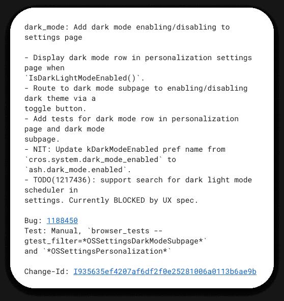 Google Chrome OS Dark Mode Commit Message