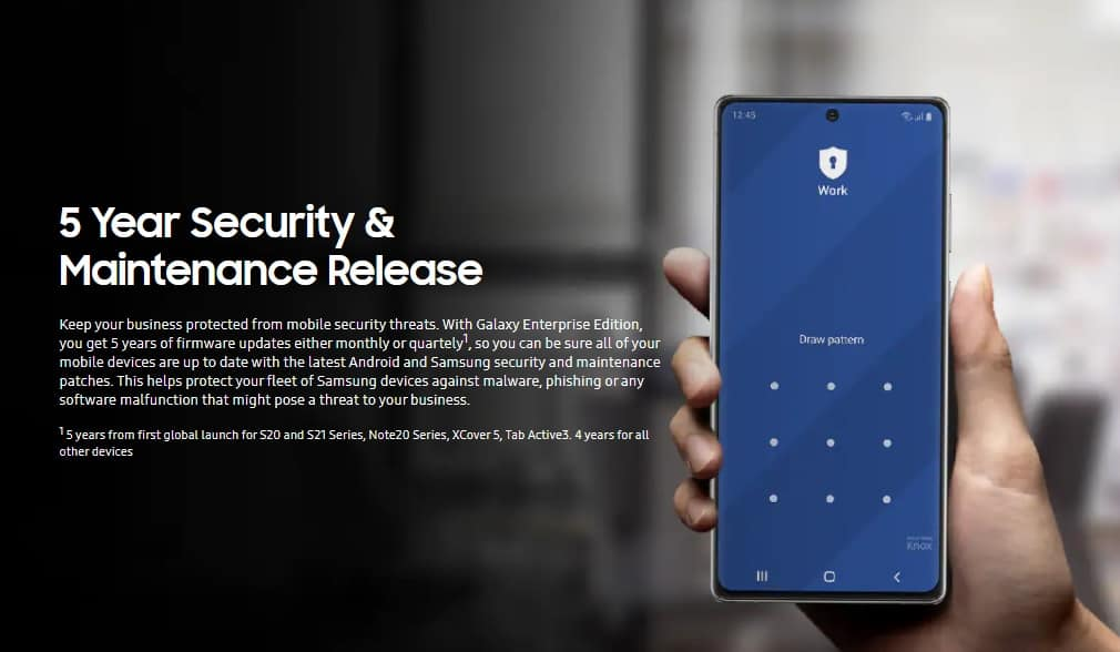 Samsung enterprise edition five years security updates
