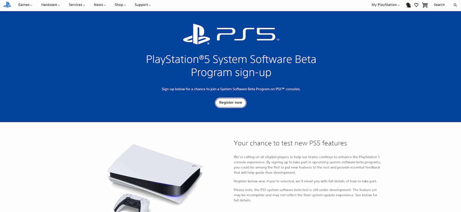 Sony PS5 System Software Beta Program 1