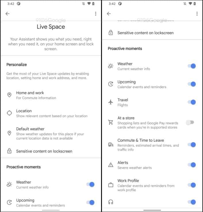 google live space at a glance widget android 12