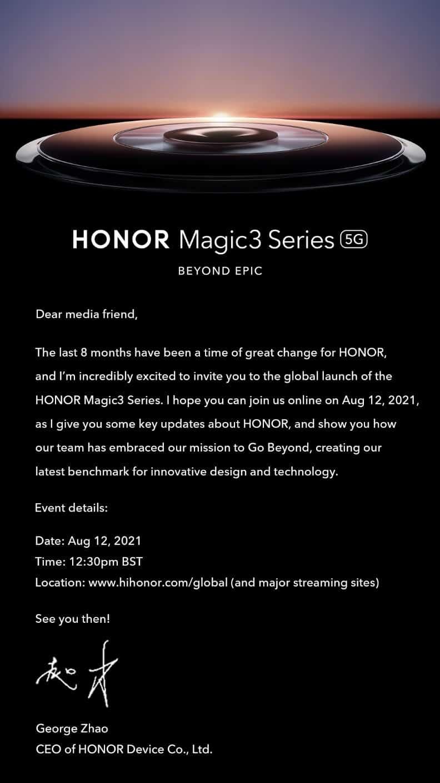 HONOR Magic 3 press event invitation