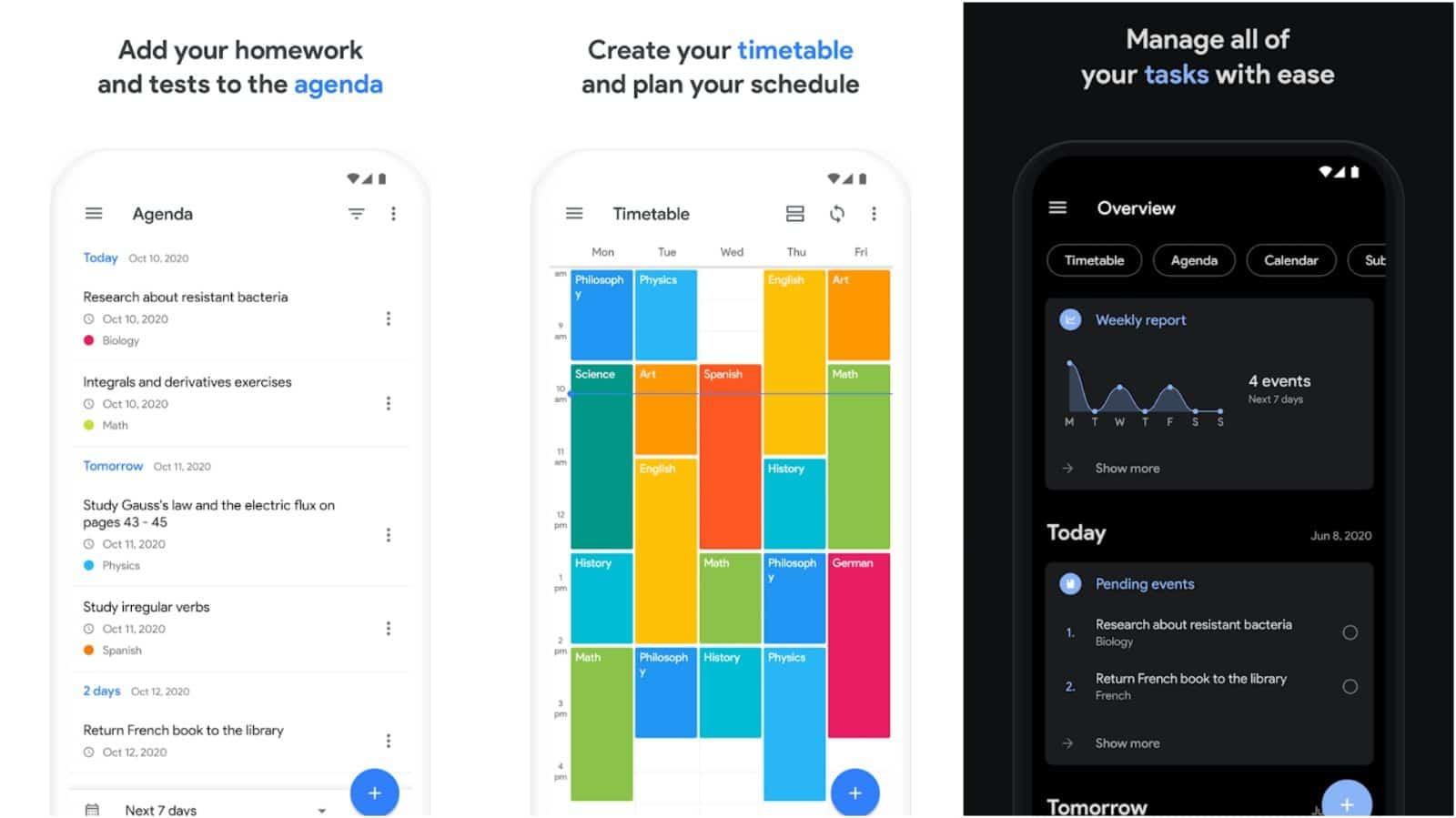 School Planner app grid image