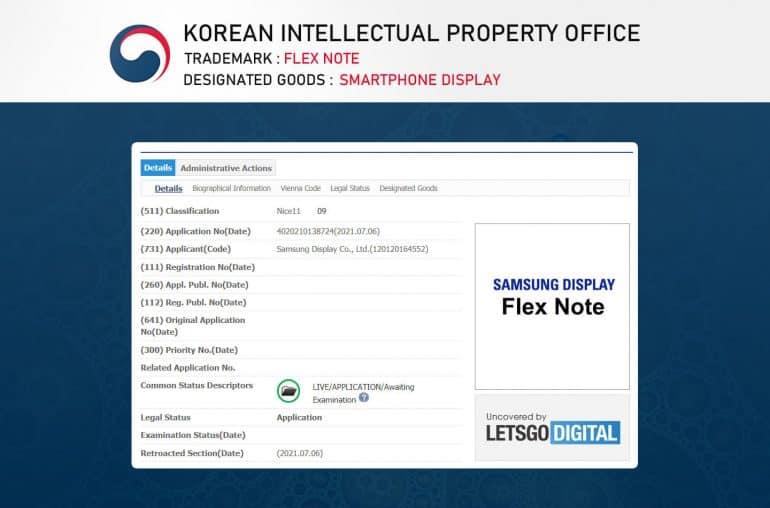 samsung flex note trademark