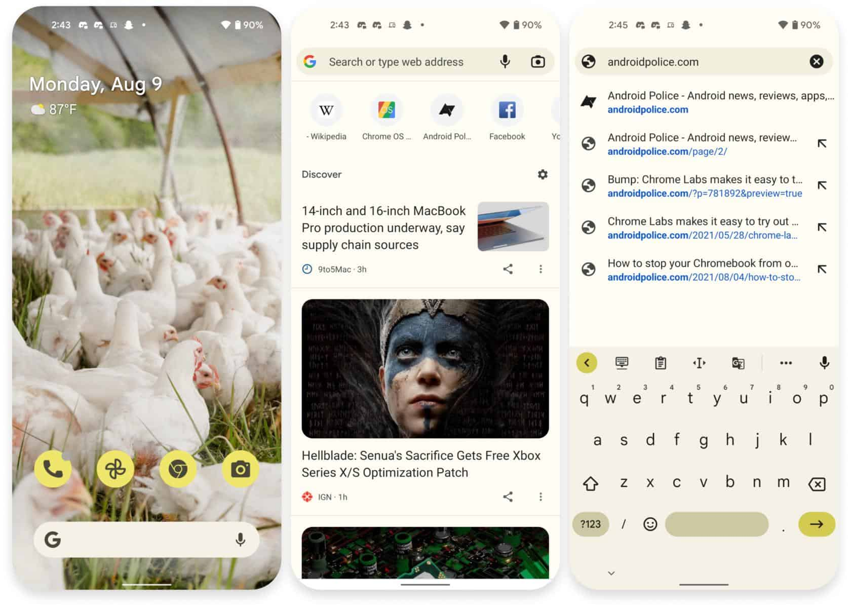 Android 12 Material You google Chrome beta canary channel from Android Police
