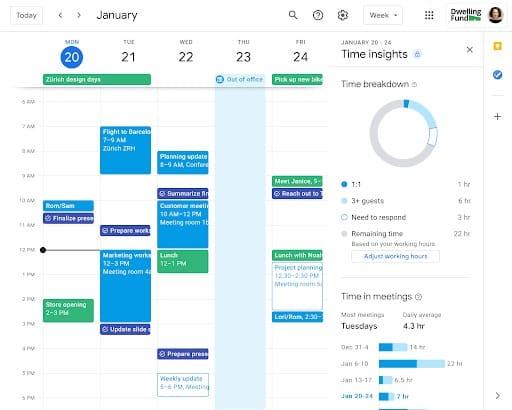 Google Calendar Time Insights